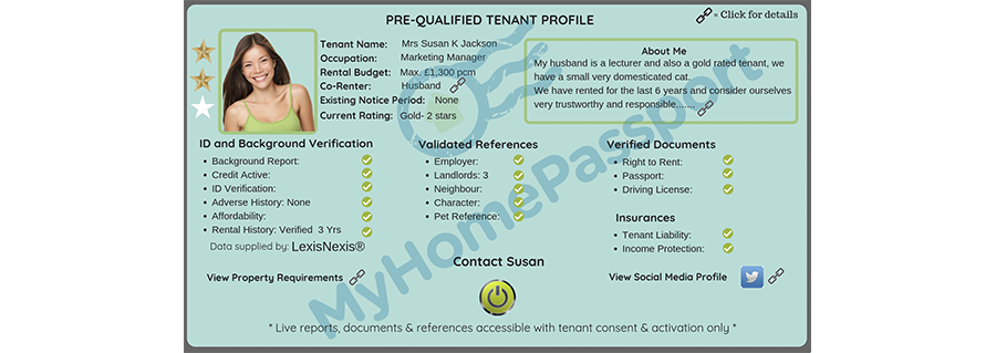 Pre qualified Tenant Profile